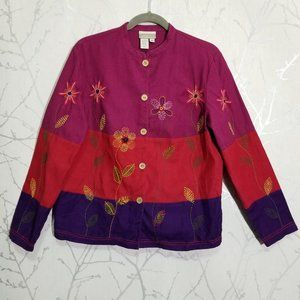 Coldwater Creek Linen Floral Embroidered Jacket